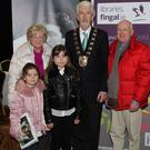 Dan and Anne Leonard and their grandchildren Pia (8) and Sanna (10) with Mayor of Fingal Cllr David O'Connor at the 1916 Memorabilia Day in the Bracken Court Hotel