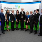 Oisin Geoghegan (left) with finalists Darren Farrell, Preeti Mokaria, Kevin Egan, Irene McGrath, Nicole Dunne, Keelin Shanley and Chris Monks, Fingal Mayor David O'Connor and Fingal County Council Chief Executive Paul Reid at the Fearless Enterprise event in the Riasc Centre Swords