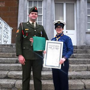 Sargent Stephen Conran, 2nd Cavalry Squadron and Sea Scout Leader, Rachel Shanahan from Skerries at Fingal Scouts 1916 Rising Camp in Newbridge House