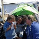 Lisa Kelly from Rush at the refugee camp on the Greek-Macedonian border