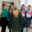 Teacher Ms McVeigh, with students Niamh Rowe, Caoimhe Hunt, Kayla Lockhart, Rebecca Ward and principal Michael O'Leary