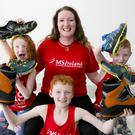 Mum of three Olivia Kirwan who is living with Multiple Sclerosis with her children Katie, 6, Ryan, 8 and Luke, 6, announce World MS Day May 25th 2016 and the fundraiser '9,000 steps for MS'. Please visit www.ms-society.ie to get involved