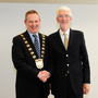 Swords-based councillor, Darragh Butler takes over the chain of office from Cllr David O'Connor