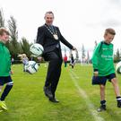 Pictured at the Fingal Football Festival held in the AUL grounds, Clonshaugh, were Cian Daly and Flynn Healy, U11 Glebe North FC, Balbriggan with Mayor of Fingal, Daragh Butler