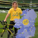Pieta 100 Cycle Ambassador and Irish Rugby International Jenny Murphy at the launch of the Pieta 100 cycle