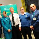 John Quinn, Lianne Cullen, Paul Jennings, Eoin Richardson and Franco Belasio at the careers evening in Ardgillan Community College