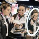 Celebrating the best airport cosmetics and perfume store in the Dreamstore Awards are ARI Retail Assistants Ciara Dillon and Shauna Levins