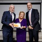One of five overall winners, Irene Lowry CEO, Nurture receiving award from Minister of State for Disability Issues Finian McGrath and Roger Connor, President, Global Manufacturing & Supply (GMS) at GSK