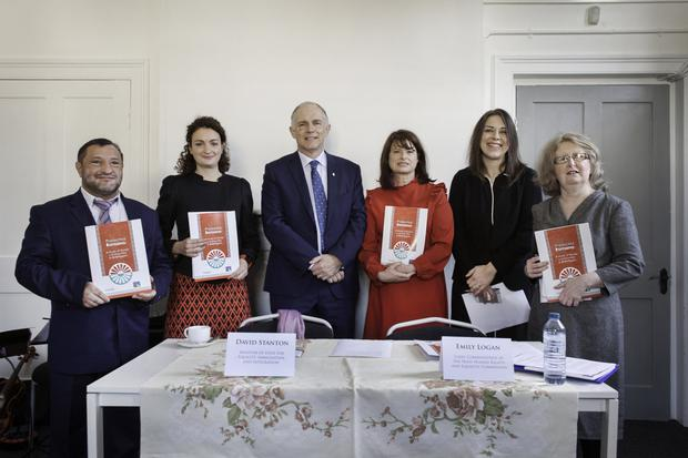 Sergiu Pruteanu, Musicantia; PHD Marianna Prontera, Cairde; David Stanton, Minister of State at the Department of Justice and Equality; Emily Logan, Chief Commissioner, Irish Human Rights and Equality Commission; Tonya Myles, Cairde; Nadette Foley, Musicantia. Photo by Monika Chmielarz