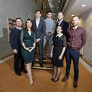 The five Dublin businesses are Chimnery Spirits, InvizBox, Kickabout, PhysioLInked and Sproose. Pictured at the announcement (l-r) is Chris Monks of InvizBox Ltd, Marie Byrne of Chinnery Spirits, Declan McGann, Gary O'Toole and Andrew Turner of Kickabout, Sonia Neary of PhysioLInked and Conor Wilson of Sproose