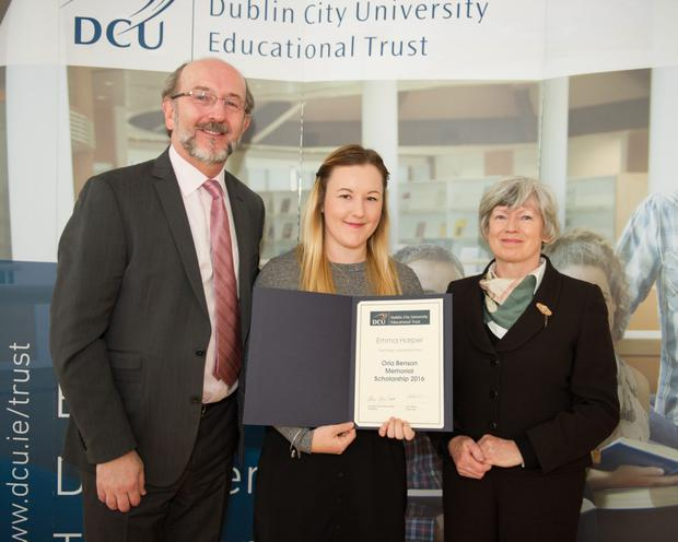 Emma Harper, from Balbriggan, received the Orla Benson Memorial Scholarship. The awards were presented by the President of DCU, Professor Brian MacCraith, and Mary Shine Thompson, a trustee of the DCU Educational Trust