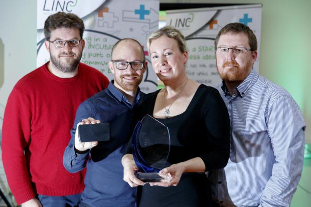 Vincent Riou, Paul and Elizabeth Canavan and Chris Monks of Invizbox who won the JumpStart competition