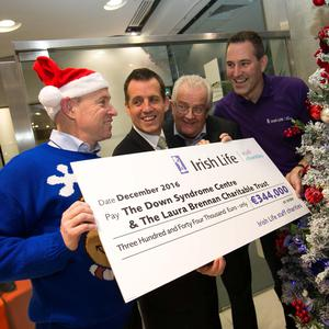 Pictured are David Harney, CEO, Irish Life, Pat Brennan, The Laura Brennan Charitable Trust, Peter Gaw, The Down Syndrome Centre, John Roberts, Irish Life Staff Charities