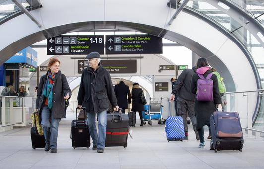 Passengers arriving at Dublin airport