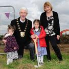 Fingal Mayor David O'Connor with Holly and Hannah Ludden and Edith Rodgers at the sod turning last year