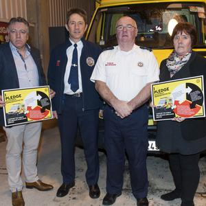 Cllr Tony Murphy, District Officer Hughie O'Leary, Chief Fire Officer Balbriggan Dermot Murray and Cllr Grainne Maguire