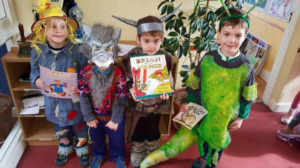 Daniel as the Scarecrow from Scarecrow's Secret. Joseph as the Big Bad Wolf, Patrick as a Viking from Brian and the Viking and Ryan as Slug