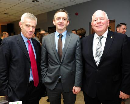 Stiofán Nutty, Ed Hearne and Michael Dawson at the Fingal Enterprise week Fearless event in the Riasc Centre