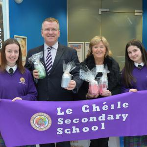 Local students from Le Chéile Secondary School in Tyrellstown with Mercy Prendergast from the Blanchardstown Centre and Oisin Geoghegan Head of Enterprise in Fingal