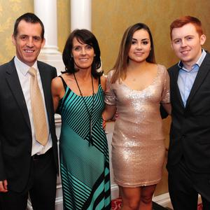 Pat, Nuala, Anna and Shane Brennan at the Laura Brennan Charitable Trust Gala Evening in the Grand Hotel