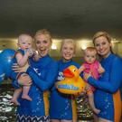 Karen Koster (TV3 Xpose), Adam O'Toole and Water Babies Mums Aoife Hearne (RTE Operation Transformation) and Siobhan O'Connor and Erin O'Connor Norton launch Water Babies Splashathon 2017