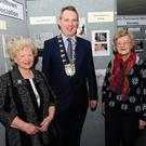 Pat Kelly and Bernadette Marks with Fingal Mayor Darragh Butler at the Fingal Heritage network evening at the County Hall in Swords.