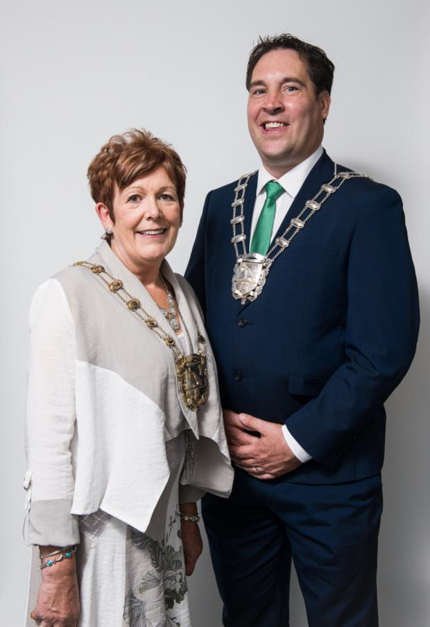 New Mayor of Fingal Cllr Mary McCamley with deputy mayor Adrian Henchy