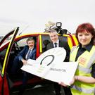 Minister for State for Skills, Training & Innovation John Halligan, with Enda McDonnell, Enterprise Ireland and Ros O'Neill, Dublin Airport Fire Service