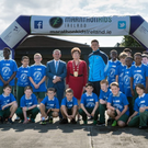 The Mayor of Fingal, Cllr Mary McCamley and Fingal County Council's Chief Executive Paul Reid with Dublin GAAstar Paul Flynn and MarathonKids participants from St Colmcille's B.N.S. in Swords