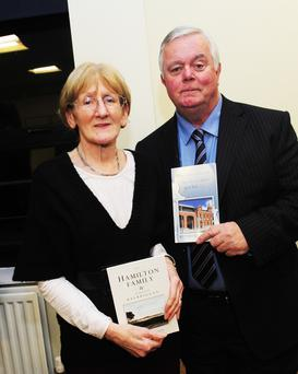 Pauline O'Hare and Jim Walsh at the Balbriggan Historic Society talk in the town hall.