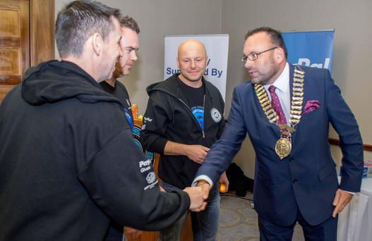 Pictured from left, at PayPal's Opportunity Hack are Tim O'Leary, PayPal; Darren Corley, PayPal; Slawek Smiechowski, PayPal; and Guy Thompson Fingal Chamber president & GM Castleknock Hotel