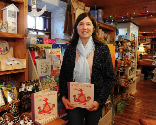 Jane Landy at the gift shop in Skerries Mills where Gringer the Whinger is on sale