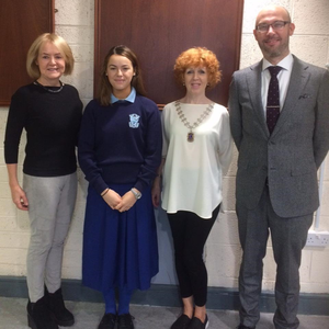 Pictured (from left) are Bernadette Murray, PRO Malahide Lions Club. Zara Hussey, 2016 winner. Mary McNamara, President Malahide Lions Club and Mr David Hayes, Principal ScoilÍosa