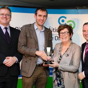 Winner of the 'Best Idea' category and overall title winner Kevin Kelleher, Ostoform, receiving his award from Oisin Geoghegan, Head of Enterprise in Fingal, Mayor of Fingal Mary McCamley and CE of Fingal County Council, Paul Reid
