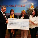 Margaret Clinton and Carmel Hancock from SOSADS presented with a cheque from Lady Captain Nuala McMahon and Captain Peter Donnelly at Skerries Golf Club