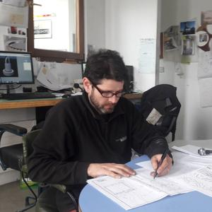 Shane Holland working on designs for the new sculpture in Skerries to mark the town's win in the 2016 Tidy Towns Competition.
