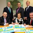 Front Row L-R Dr. Pat O'Connor, Chair, Fingal Local Community Development Committee, Adeline O'Brien, Chief Executive Officer, Blanchardstown Area Partnership, Paul Reid, Chief Executive, Fingal County Council. Back Row L-R Cllr. Kieran Dennison, Chair, Blanchardstown Area Partnership, Felix Gallagher, Manager, Blanchardstown Area Partnership, Breffni O'Rourke, Chief Officer, LCDC, Fingal County Council