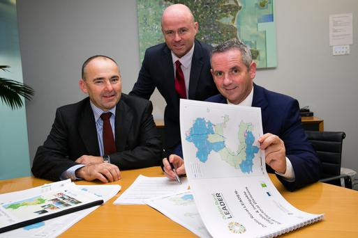 Head of Fingal LCDC Dr Pat O'Connor with Chair of Fingal Leader Partnership Chris Harmon and Chief Executive of Fingal County Council Paul Reid