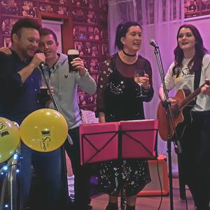 Peter Weldon, Finto McAllister, Aisling Kiely and Liz Seaver closing out the night's festivities with Fairytale of New York at Liz Seaver & Friends, Songs for Simon