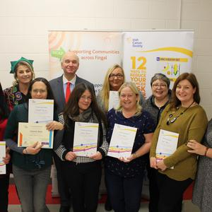 Pictured at the graduation ceremony in Balbriggan were the successful participants of the Irish Cancer Society's We Can Quit programme with John McCormack, CEO of the Irish Cancer Society and the facilitators of the programme Nuala Kane from Blanchardstown Area Partnership and Rachel Moore