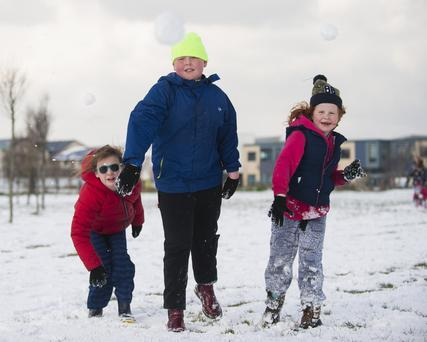 Findley Crowley (left) with Matthew and Emily Cauldwell having fun in Skerries.
