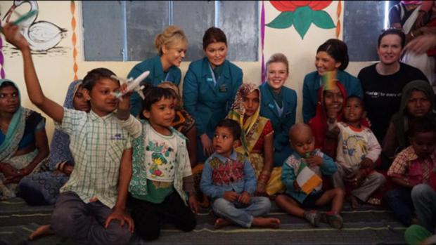Kate Ryan, Nuala Byrne, Hannah Downey and Therese Griffin on a UNICEF mission to India.