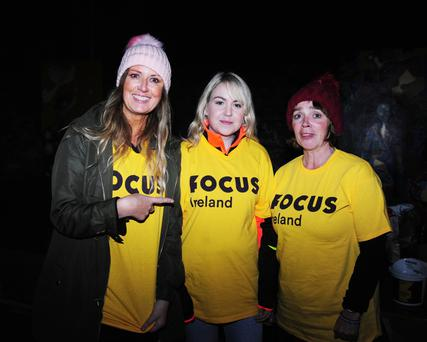 Bríd Walsh, Katie Murphy and Scarlett Taylor at the Focus Ireland sleep-out in Skerries.