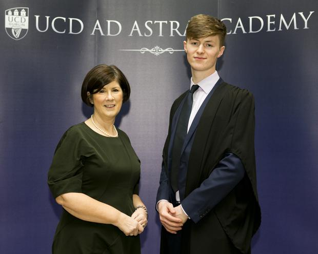 Patricia Hayden, Principal of St Joseph's Secondary School with her previous student Culann Noonan, 2017 UCD Ad Astra Academic Scholarship.