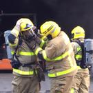 Firefighters tackle the blaze in Balbriggan. Pic: Gary Tolan