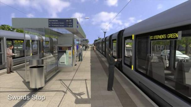 'MetroLink will see an expansion of capacity on the existing Green line from Sandyford in the south of the city and a new line, much of it underground, through the city centre and on northwards to the airport and Swords.'