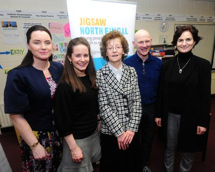 Aishling Cosgan, Aoife Connolly, Marian Daly and David Creed and Deirdre Boyle at the Jigsaw Presentation in Skerries Community College.