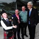 Aine Gaffney, Chief Executive Fingal County Council Paul Reid, Cllr Darragh Butler and Cllr David O Connor at the launch of Leinster Pipe Band Championships at County Hall Atrium, Swords