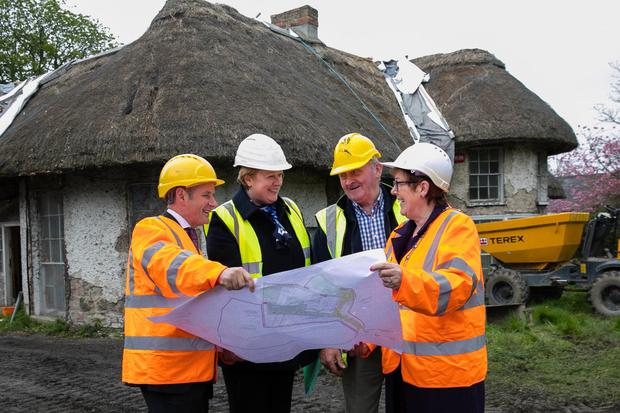 Chief Executive of Fingal County Council Paul Reid, Fingal County Architect Fionnuala May, Director of Francis Haughey Building and Conservation, Frank Haughey and Mayor of Fingal Cllr Mary McCamley at the Malahide Casino cottage