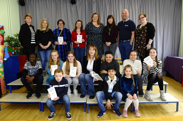 Pictured at the Balbriggan Educate Together book launch is TD Clare Daly with teachers, parents and children who were involved in the book